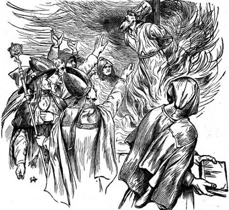 Český kněz Jan Hus skončí 6. července 1415 jako kacíř na ohnivé hranici.