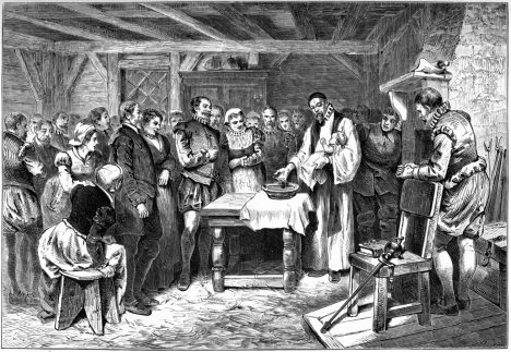 Baptism of Virginia Dare, the first English child born in North America. Lithograph, 1880
