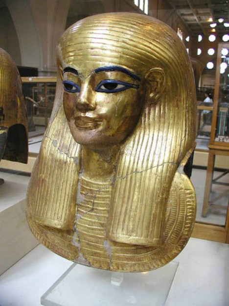 The gilded cartonnage mummy mask of Yuya, the father of Queen Tiye. Yuya was the father-in-law of pharaoh Amenhotep III, one of the the most powerful kings of Egypt's 18th dynasty.