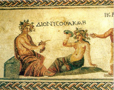 Hellenistic mosaics discovered close to the city of Paphos depicting Dionysos, god of wine.