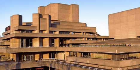 Entertainment building in a city, National Theatre, Lambeth, London, England