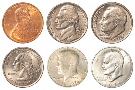 USA presidents on USA coins