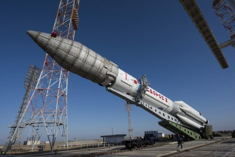 The Proton rocket, that will launch the ExoMars 2016 spacecraft to Mars, is lifted on the launchpad at the Baikonur cosmodrome, Kazakhstan, in this handout photo released by European Space Agency (ESA) on March 11, 2016. REUTERS/Stephane Corvaja/ESA/Handout via Reuters ATTENTION EDITORS - THIS PICTURE WAS PROVIDED BY A THIRD PARTY. REUTERS IS UNABLE TO INDEPENDENTLY VERIFY THE AUTHENTICITY, CONTENT, LOCATION OR DATE OF THIS IMAGE. FOR EDITORIAL USE ONLY. NOT FOR SALE FOR MARKETING OR ADVERTISING CAMPAIGNS. THIS PICTURE IS DISTRIBUTED EXACTLY AS RECEIVED BY REUTERS, AS A SERVICE TO CLIENTS. NO RESALES. NO ARCHIVE. TPX IMAGES OF THE DAY - RTSAC1O