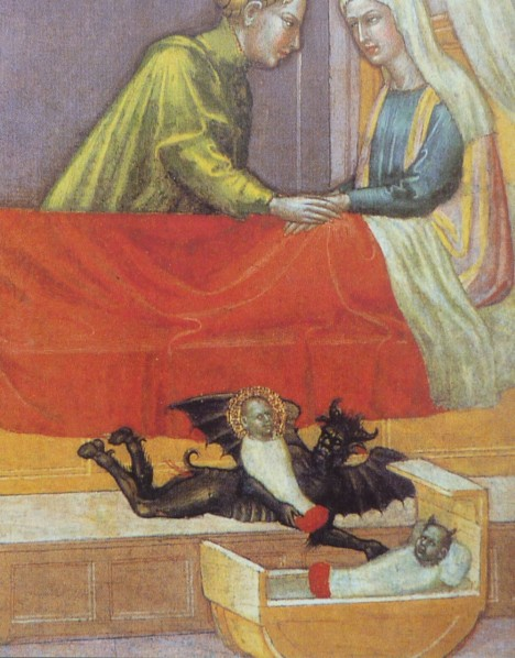 The devil exchanging a baby against a changeling, early 15th century, detail of the legend of St. Stephen by Martino di Bartolomeo