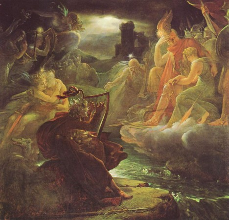 Ossian on the Bank of the Lora, Invoking the Gods to the Strains of a Harp.