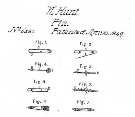 10. dubna 1849 si vynálezce nechá špendlík patentovat na úřadě pod číslem 6281.