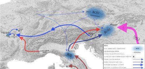 Údajný pohyb Bójů po Evropě.