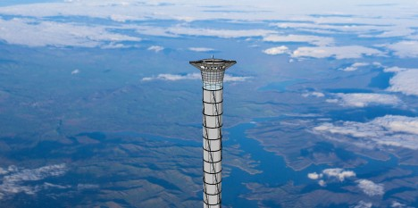 The top of a space elevator platform recently patented by Thoth Technology of Pembroke, Ont. is shown in this artist's concept. The company thinks a 20-kilometre-high version could be built within 10 years.