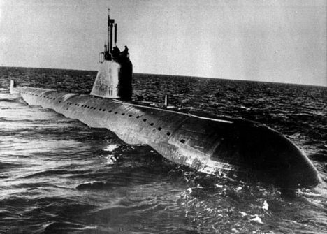 An undated photo of a Russian 1960's era November class nuclear attack submarine similar to the K-159 which sank in the Barents Sea on Saturday morning. The ageing submarine sank during a storm as it was being towed into port for scrapping and upto eight service men were feared killed, the Defence Ministry said
