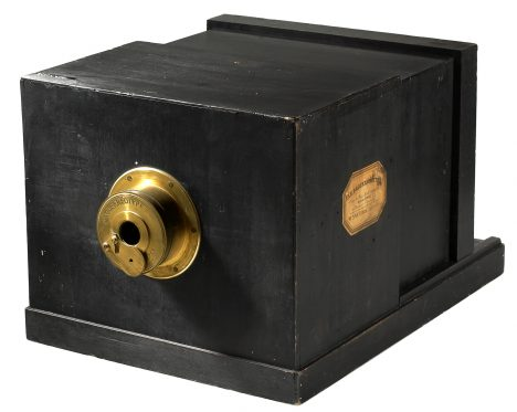 Susse Freres Daguerreotype camera from 1839, in exhibition in the Westlicht Photography Museum in Vienna, Austria. Two months before the public announce at the French Academy of Arts and Science of the process of Daguerreotype, Jacques Louis Mandé Daguerre signed a contract with his relative Alphonse Giroux and with the Maison Susse Freres to produce the cameras according to his instructions. Both cameras used the same lens produce by the Maison Charles Chevalier a lens f15 380 mm