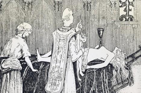 Během rituálu byl oltář tvořen z nahého ženského těla.