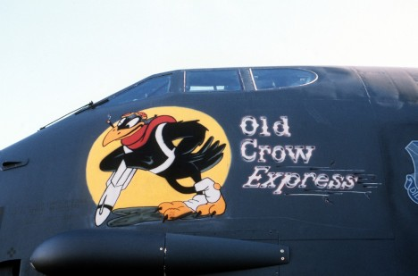 A view of the artwork painted on the side of a 379th Bombardment Wing B-52 Stratofortress aircraft known as