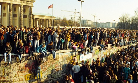 Berlin wall falling