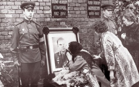 Vladimir Komarov Picture...MOSCOW - APRIL 26: Valentina Komarov, the widow of Soviet cosmonaut Vladimir Komarov, kisses a photograh of her dead husband, 26 April 1967 during his official funeral, on the Red Square in Moscow. Komarov died during his second flight, onboard Soyuz 1, 23 April 1967, when the spacecraft crashed during its return to Earth. He was the first confirmed human to die during a space mission, and the first Soviet cosmonaut to travel into space more than once. Just before impact, Soviet premier Alexey Kosygin told Komarov his country was proud of him. (Photo by AFP/Getty Images)