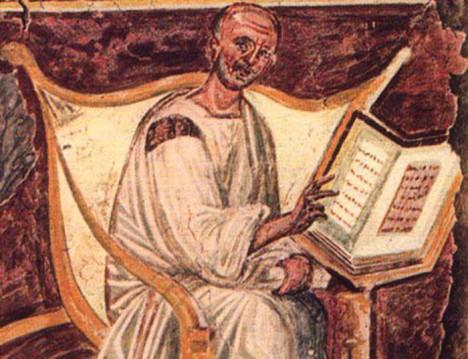 Augustin čte. Právě četbu, ale také chudobu a mlčenlivost, si určuje jako hlavní pravidla pro život v klášterech.