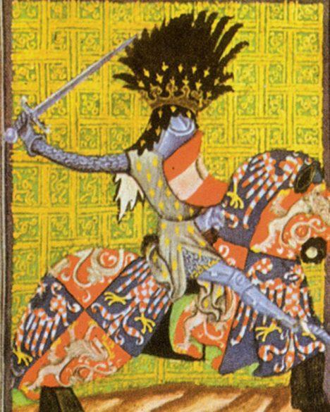 Přemysl Otakar skrývá do zbroje nepříliš vysokou, ale svalnatou postavu.