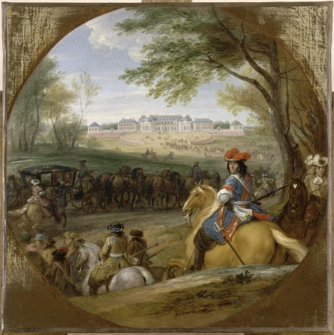 Ani na vyjížďce se francouzský panovník Ludvík XIV. neobejde bez bohaté hřívy umělých vlasů.