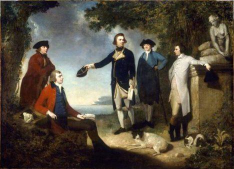 Hrabě Sandwich (druhý zprava) svůj nápad propaguje mezi přáteli.