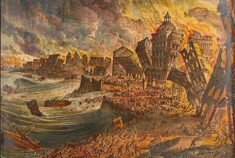 Nejdříve se přímo uprostřed portugalského města objevily hrozivé praskliny, chvíli poté pak lidé vpřístavu sledovali, jak ze zátoky mizí mořská voda a odhaluje dno. Série ohromných vln, vyvolaná zemětřesením stupně číslo 9, pak totálně zpustošila město a jeho okolí. Dvacetimetrová vlna zasáhla i pobřeží severní Afriky a třímetrové vlny dorazily až do Anglie.