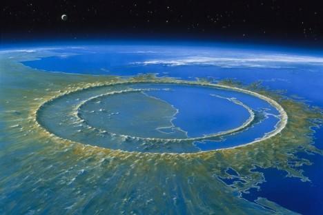 Vědci se domnívají, že právě tento kráter vyhloubil velký meteorit, který zahubil dinosaury. Musel mít průměr několik kilometrů arozpoutal na povrchu planety doslova peklo. Ohromná energie uvolněná dopadem rozpoutala obrovské požáry avlny tsunami.
