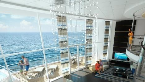 Turisté si mohou vybrat z celé řady různých typů kajut. U vnitřních kajut zajišťují výhled ven obří obrazovky, u vnějších kajut zase můžete mít velký balkon.