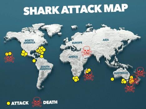 Mapa ukazuje lokality, kde se v minulém roce odehrálo nejvíce útoků žraloků, včetně těch smrtelných.
