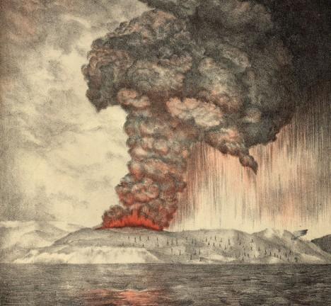 Nejničivější sopka moderní historie Krakatoa vyvolala při své erupci opravdové peklo a i ona měla za následek vzedmutí mohutných vln tsunami. Vodní masa dosahující výšky až 30 metrů zalila pobřeží Indonésie, kde vtroskách zahynulo na 30 tisíc lidí. Vlny vyvolané výbuchem se oceánem šířily také k pobřeží Afriky.