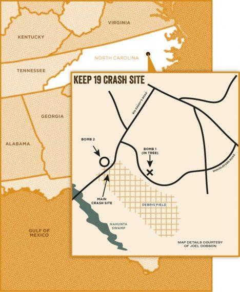 Mapa ukazuje místo havárie i polohu obou jaderných bomb, které byly mnohonásobně silnější než puma svržená na Hirošimu.