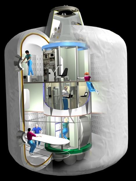 Do nafukovacího modulu se vejde 6 astronautů, obsahuje vlastní systém na výrobu kyslíku, manévrovací trysky a dvojici solárních panelů.