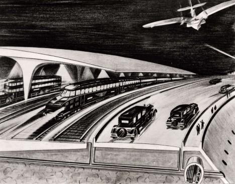 V představách architekta bylo i propojení obou kontinentů pomocí mostů. Ohromné náklady na stavbu pak měly zamezit válkám.