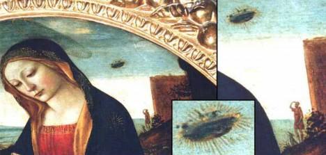 Řada středověkých obrazů na sobě nese podivné létající předměty či úkazy na nebi. Jedním z nich je i obraz Madony s děťátkem z 2. poloviny 15. století.