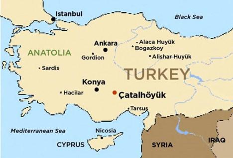 Mapa ukazuje, kde se na území dnešního Turecka nacházejí zbytky starověkého velkoměsta Çatalhöyük.