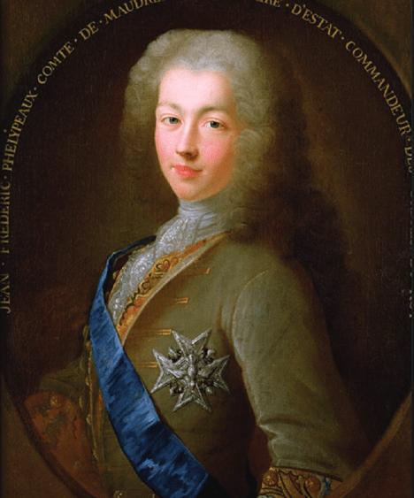 Francouzský ministr Jean Frederic Phelypeaux Count of Maurepas přesvědčuje svého krále, že invaze na britské ostrovy určitě přinese úspěch.
