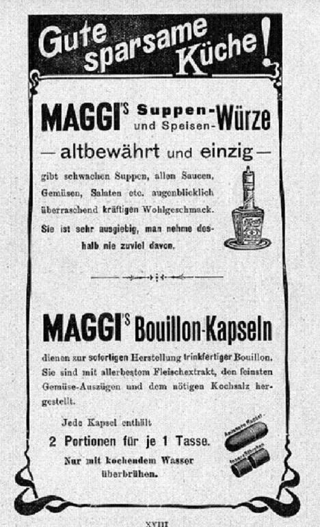 Inzerát společnosti Maggi z roku 1903. Koření i polévky se stávají hitem hospodyněk.