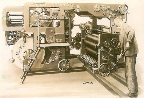Jeden z nejstarších rotačních kotoučových strojů využívá právě Hermannových nápadů.
