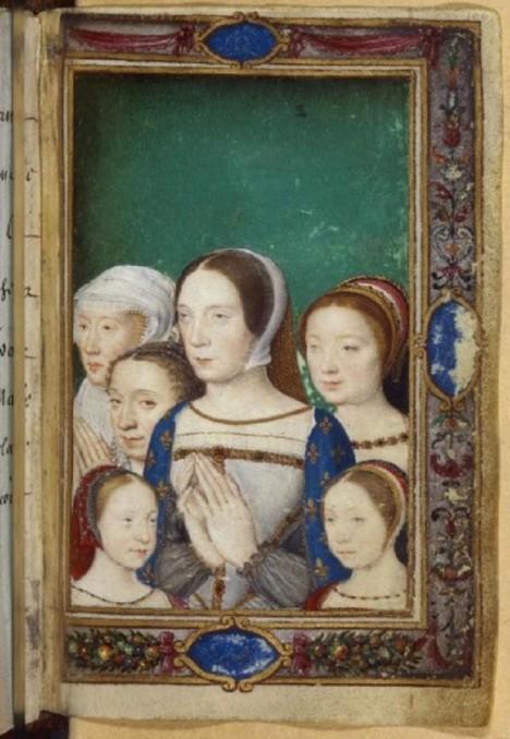Klaudie Francouzská se svými dcerami a sestrami. Manželovy zálety se jí nelíbí.