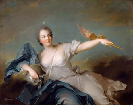 Králova milenka Marie Anne de Mailly si také dopřeje parádu v podobě umělých ozdob.