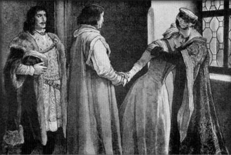 Královna Johana (vpravo) se loučí s dcerou Kateřinou, která se má v Uhrách provdat za Matyáše Korvína.