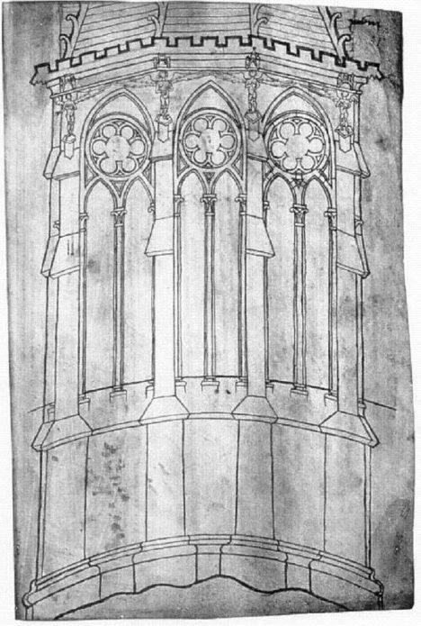 Nákres katedrály ve francouzské Remeši podle Honnecourtových plánů.