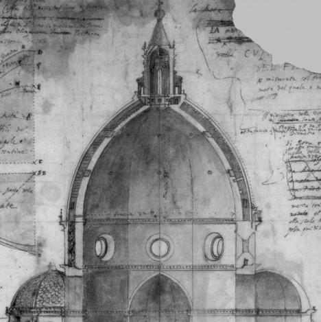 Nákres kupole florentského dómu. Jeho dostavby se odborníci bojí.
