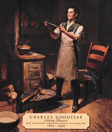 Na správný postup, jak kaučuk vulkanizovat, přijde v roce 1939 americký chemik Charles Goodyear.