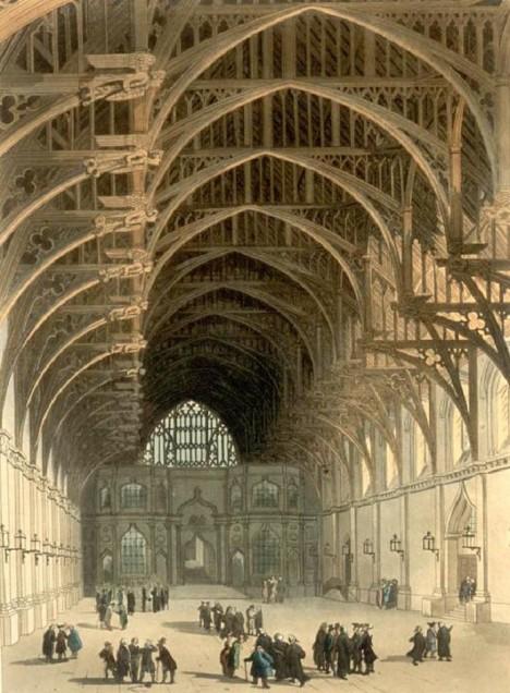 Obrovský prostor Velkého sálu jak vypadal v 18. století. Ve středověku tu král pohostí i hladovou chudinu.