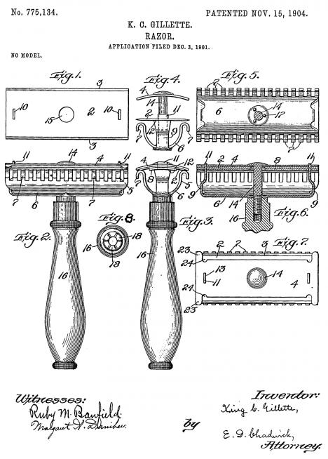 Patent na nový holící nástroj dostane americký úřad už v roce 1901, schválí ho o tři roky později.