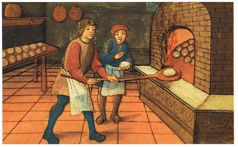 Pečení chleba ve středověku bylo důležitou součástí života. Chléb tvořil složku potravy.