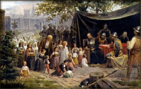 Porada husitského velení před bitvou.