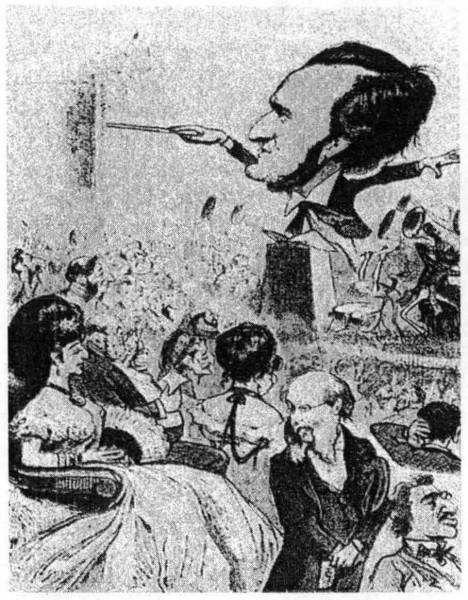 Skladatel Wagner si myslí, že hudba je jenom pro bohaté Židy, kteří si mohou dovolit zaplatit za vstupenku 25 zlatých. Proto se stává terčem novinových karikatur.
