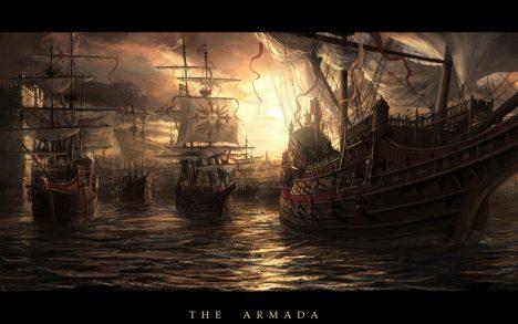 Těžká španělská plavidla disponují děly s malým dostřelem. Musí proto blízko k nepříteli.