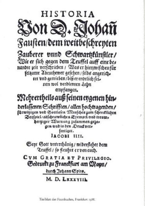Titulní strana vydání Faustovy knihy z roku 1588.