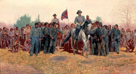 U Appomattoxu se rozhodne, Lee se musí vzdát.