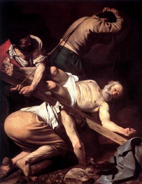 Ukřižování svatého Petra podle italského malíře Caravaggia. Křesťané jsou od počátku letopočtu až do vydání Milánského ediktu v roce 313 pronásledování.